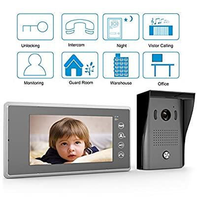 "[Upgrade Version]1byone 7"" Color LCD Touch Screen Wired Video Doorbell, With Video Recording and PhotoTaking Function, 120° Wide-Angle VP-0636"