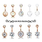 Finrezio 10 PCS 14G Surgical Steel Belly Button Ring Navel Ear Rings CZ Body Piercing Jewelry (C: Rose-Gold-Tone) (Color: C: Rose-Gold-Tone)