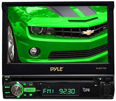 Pyle PLBT72G 7-Inch Single DIN In-Dash Motorized Touchscreen LCD Monitor with DVD/CD/USB/SD, AM/FM/Bluetooth, Built-In GPS with Maps from Sound Around
