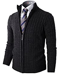 H2H Mens Slim Fit Full-zip Kintted Cardigan Sweaters with Twist Patterned CHARCOAL US S/Asia M (KMOCAL032)