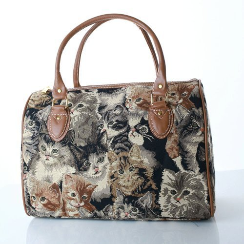 ladies travel bag/weekend bag/gym bag/cabin approved hand luggage black lucky cat design