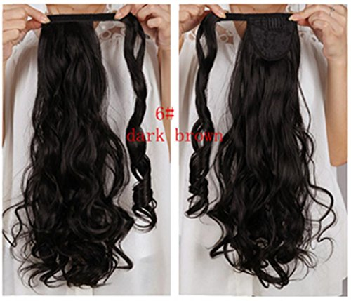 Hairqueen Ladies Curly/Wavy Natural Long Wigs Hair Extensions Clip Claw Ponytail 100G 18Inch