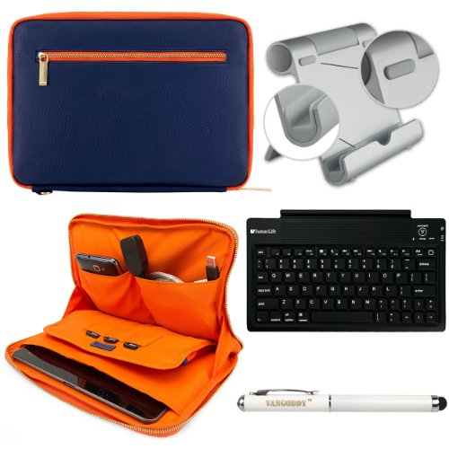 Faux Leather Carrying Bag Sleeve Case For Dell Venue 11 Pro Windows 8 Tablet + Includes Bluetooth Keyboard + Metal Stand + Stylus Pen