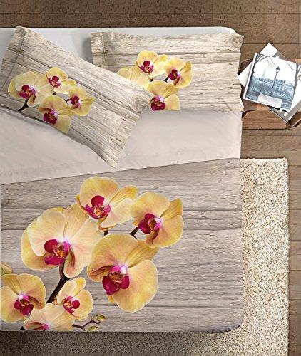 Ipersan Orchidea Parure Lenzuola fotografico Piazzato Fine-Art, 100% Cotone, Beige Giallo, Matrimoniale, 260x300x1 cm