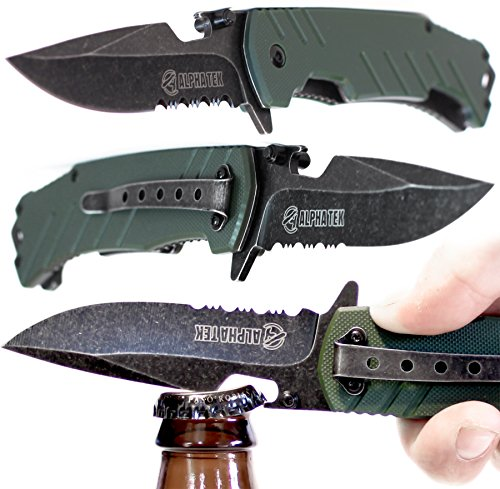 Spring Assisted Knife: OD Green - With BOTTLE OPENER - Lightning Quick Deployment - Razor Sharp - Every Day Carry - Durable As it Get's - By: ALPHATEK