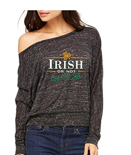 Irish Or Not Buy Me A Shot Long-Sleeve St. Patricks Day Flowy Shirt Medium Black Marble i1