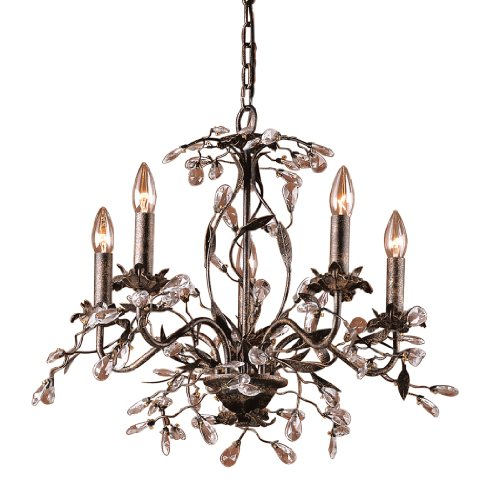 B004HWUU0C Elk 8053/5 5-Light Chandelier In Deep Rust and Crystal Droplets