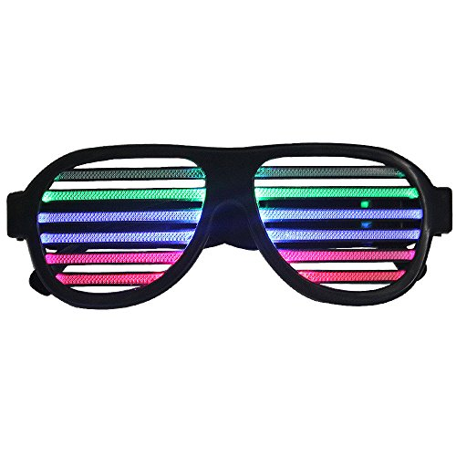 LED Glasses, Sourcingbay Sound Sensitive Rechargeable Party Glasses, Light Up & Beat with Music, for Club, Dance Disco, Stage, Party, Concert