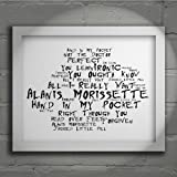 `Noir Paranoiac` Art Print - ALANIS MORISSETTE - Jagged Little Pill - Signed & Numbered Limited Edition Typography Wall Art Print - Song Lyrics Mini Poster