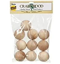 Darice 9119-49 Big Value Unfinished Wood Round Ball, Natural, 1-1/2-Inch , Pack of 10