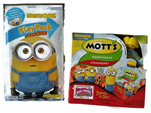 Minions Despicable Me Fruit Snack Pouches with Play Pack Grab & Go Bundle (Minions Fruit compare prices)