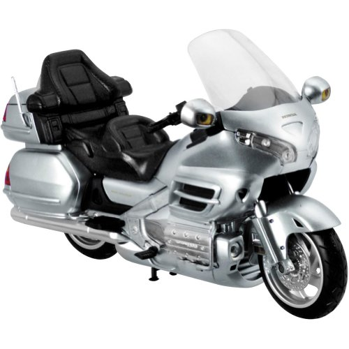 New Ray Honda Goldwing GL 1800 Replica Motorcycle Toy - Silver / 1:12 Scale