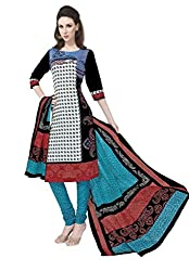Salwar Studio Multicolor & Blue Cotton Dress Material With Dupatta RangResham-1822