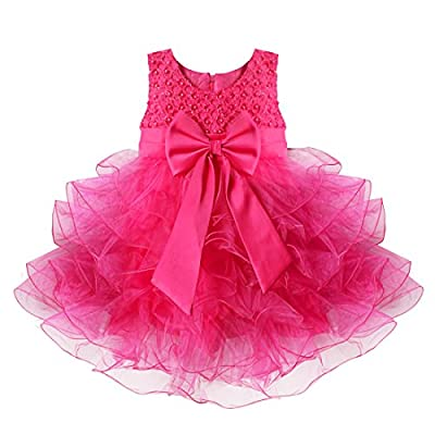 TIAOBU Baby Girls Flower Wedding Pageant Princess Bowknot Communion Party Dress