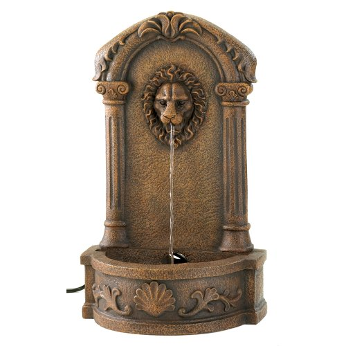 Faux Stone Outdoor Lions Head Garden Courtyard Fountain