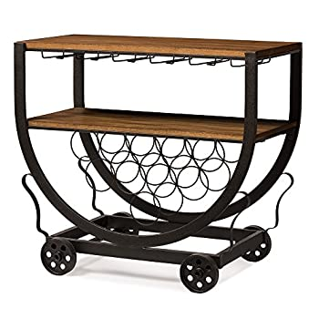 Baxton Studio Triesta Antiqued Vintage Industrial Metal & Wood Wheeled Wine Rack Cart