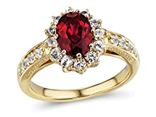 buy Lab Created Ruby And White Sapphire Halo Ring In 10K Yellow Gold