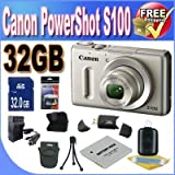 Canon PowerShot S100 12.1 MP Digital Camera with 5x Wide Angle Optical Image Stabilized Zoom (Silver) + 32GB SDHC Memory + Extra Extended Life Battery + Ac/Dc Rapid Charger + USB Card Reader + Memory Card Wallet + Deluxe Case + Accessory Saver Bundle!