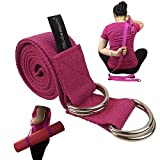 Yoga Strap & Yoga Mat Carrying Sling with 4 D-Rings - 2-in-1 Combination Stretching Belt and Mat Carrier Holder - by Wisdompro® - Hotpink