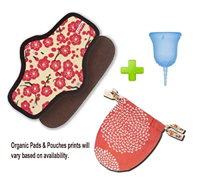 SckoonCup Menstrual Cup Made in the USA FDA approved and Organic cotton Pad Set - Balance