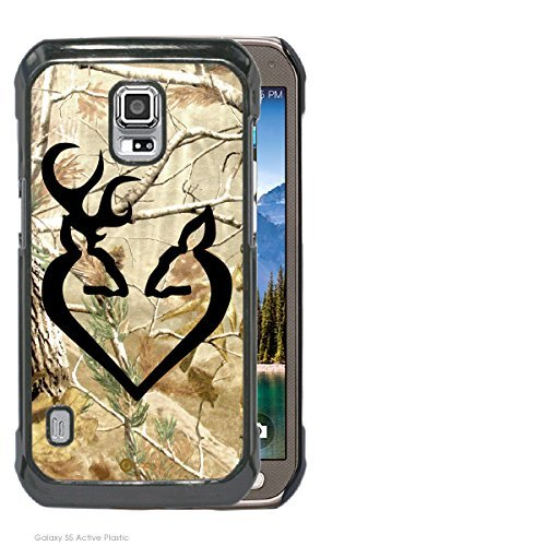 Accy Cases - Real Tree Camo Black Buck Love Samsung Galaxy S5 Active Cell Phone Case