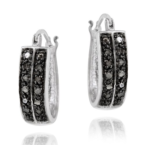 Sterling Silver 1/4ct Black Diamond 18mm Oval Hoop Earring