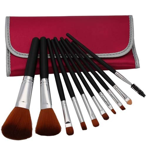 10pcs Professional Cosmetic Makeup Brush Set with Peachblossom Bag Black thumbnail
