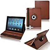 Ionic Rotating Stand Leather Case with SLEEP AND WAKE Function For Apple iPad 2, iPad 3, iPad 4 (Brown)
