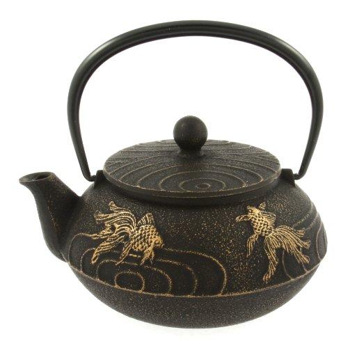 Iwachu Japanese Iron Teapot Tetsubin Gold and Black Goldfish (Japanese Teapot Iwachu compare prices)