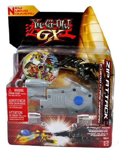 Mattel Year 2005 Yu-Gi-Oh! Zip Attack Series 4-1/2 Inch Tall Action Figure : E-HERO FLAME WINGMAN with Zip Line Gun and Disc for Single Player Mode - 1