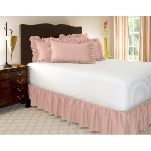 "Twin Xl Pink Ruffled Bed Skirt With 14"" Drop front-965464"