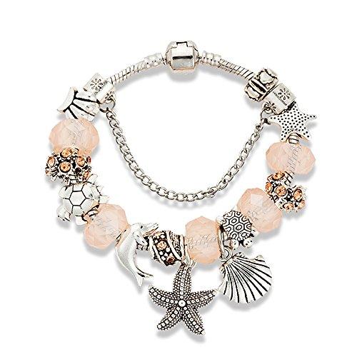 Charm Bracelet for Women Teen Girls Pink Sea Beach Star Fish Seashell Turtle Dangle Beaded Wrist Bangle (Gold Charm Brackets compare prices)