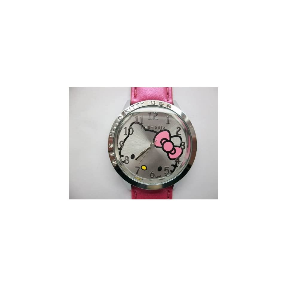 Hello Kitty Round Shaped Wrist Watch with Synthetic Leather Band   Red