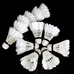 Buy Docooler 12Pcs Training White Teal Feather Badminton Shuttlecocks by Docooler