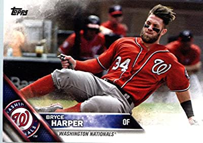 2016 Topps #100 Bryce Harper Washington Nationals Baseball Card in Protective Screwdown Display Case