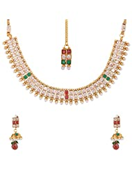 Lucky Jewellery Maroon And Green Gold Plated Jewellery Set For Women - B00SINE5B6