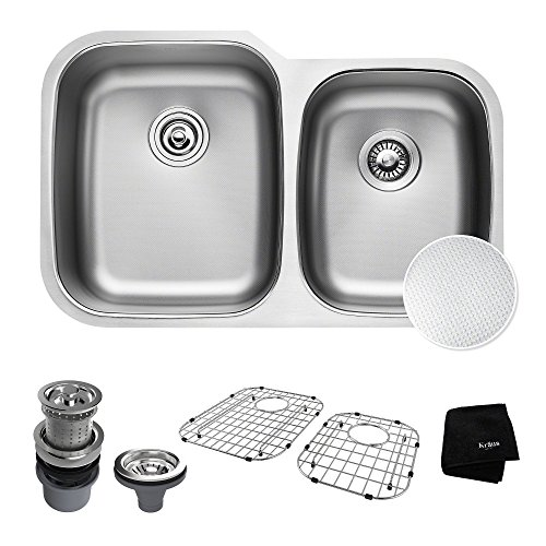 Find Discount KRAUS Outlast MicroShield Scratch-Resist Stainless Steel Undermount 60/40 Double Bowl Sink, 32″ 16 Gauge, Premier Series KBU24E