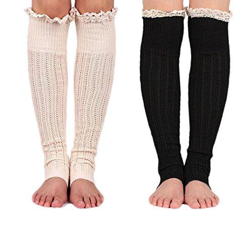 Spring Fever Crochet Lace Trim Cotton Knit Leg Warmers Boot Socks(Beige & Black) (Rain Boot Short Socks compare prices)