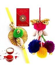 Ethnic Rakhi Designer Colorful Floral Pattern Fashionable And Stylish Bhaiya Bhabhi Mauli Thread And Beads Rakhi... - B01IIMEHQ4