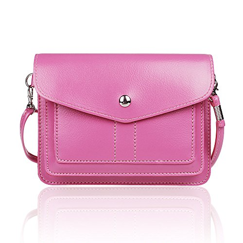 xhorizon TM ZA5 Women's Universal Multipurpose Cute Mini Elegant Classic PU Leather Transverse Crossbody Single Shoulder Bag Cellphone Pouch/Wallet/Purse with Long Shoulder Strap and Metal Button Closure For iPhone 6/6s/6 Plus/6s Plus/5S/5C/5C,Samsung Galaxy Series S6/S6 Edge,Sony Xperia,LG,HTC,Nexus,Nokia Lumia,Motolora (Rose) (Cell Phone Accessories For L90 compare prices)
