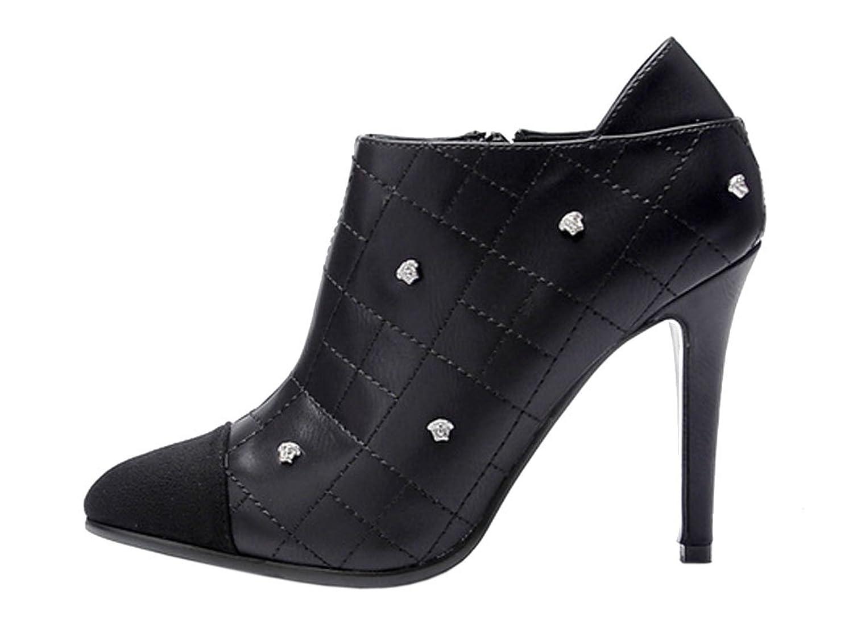 Laikakingdom Womens Kint Cusp Rivets Fashion Design Thin High Heels Shoes new extreme high heels party thin heels slip on ladies shoes