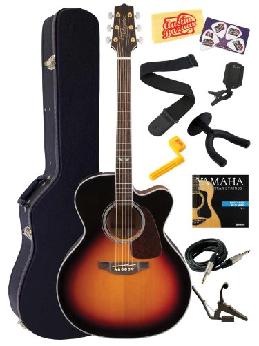 Takamine Gj72Ce Cutaway Jumbo Body Solid Spruce Top Acoustic-Electric Guitar With Rosewood Fretboard Bundle With Hard Case, Strings, Capo, Strap, Instrument Cable, Wall Hanger, Tuner, Stringwinder, Picks, And Polishing Cloth - Brown Sunburst
