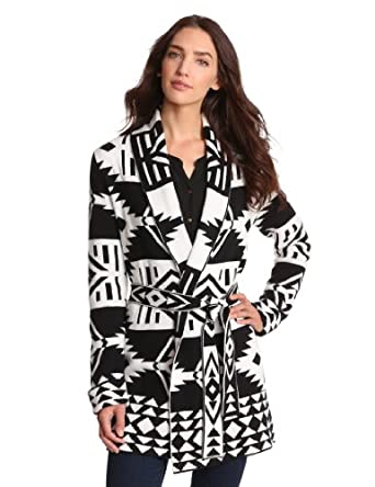 Jones New York Women's Long Sleeve Printed Belted Sweater, Black/Jivory, Medium