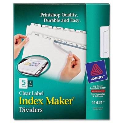 ** Index Maker White Dividers For Copiers, 5-Tab, Letter, Cl