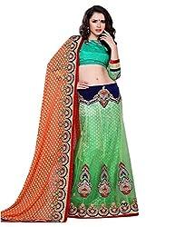 Manvaa Women Net Lehenga Choli(Green_ASTT102_Free Size)