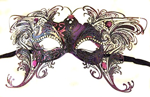 Large Purple Butterfly Jewel Wings Venetian Mask Halloween Mardi Gras Party