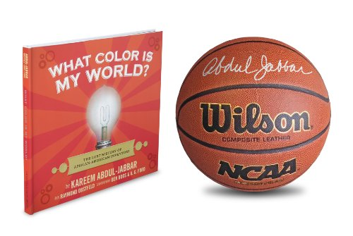 Autographed Kareem Abdul-Jabbar Wilson Composite Leather Basketball, Laker Photograph & What Color Is My World?: The Lost History Of African-American Inventors Book