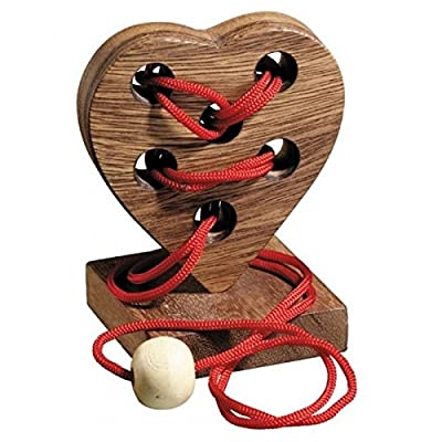 BRAIN GAMES Heart String Wooden Puzzle