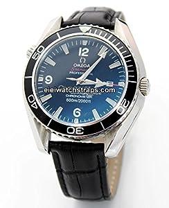 20mm Classic Black Crocodile Grain Leather Watch Strap For Omega Seamaster Planet Ocean