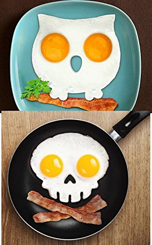 1 Owl + 1 Skull Sunny / Funny Side Up Egg Fry Mould By Woo World Store